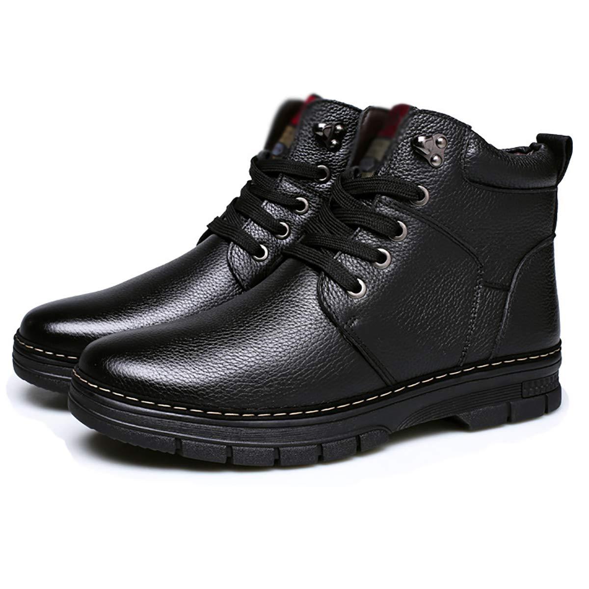 Fad-J Winter Herren Leder Schneeschuhe, warme Baumwollschuhe Stiefel mittleren Alters Vater Schuhe,schwarz,43