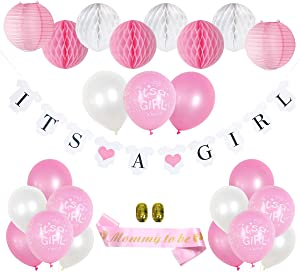 Kitveda Pink Baby Shower Decorations for Girl - It's a Girl Banner, Mom To Be Sash, Baby Shower Balloons, Honeycomb Balls, Lanterns - Pink Baby Shower Backdrop for Girl - 27 Piece Set