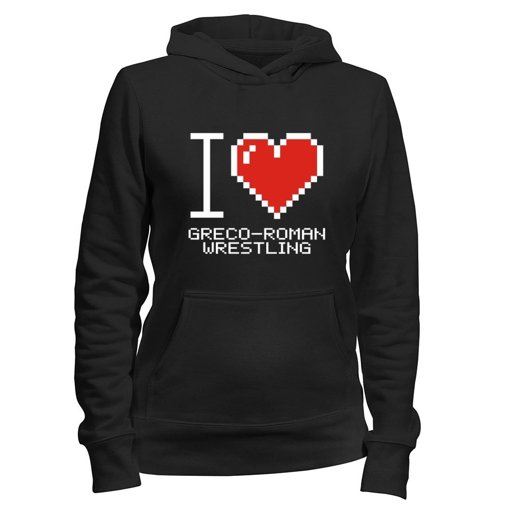 Idakoos - I love Greco Roman Wrestling pixelated - Sports - Women Hoodie
