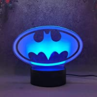 3D Night Light for Boys 3D Illusion Lamp Batman Table Desk Lamp with USB Decorative Remote for Boys Girls Bedroom…