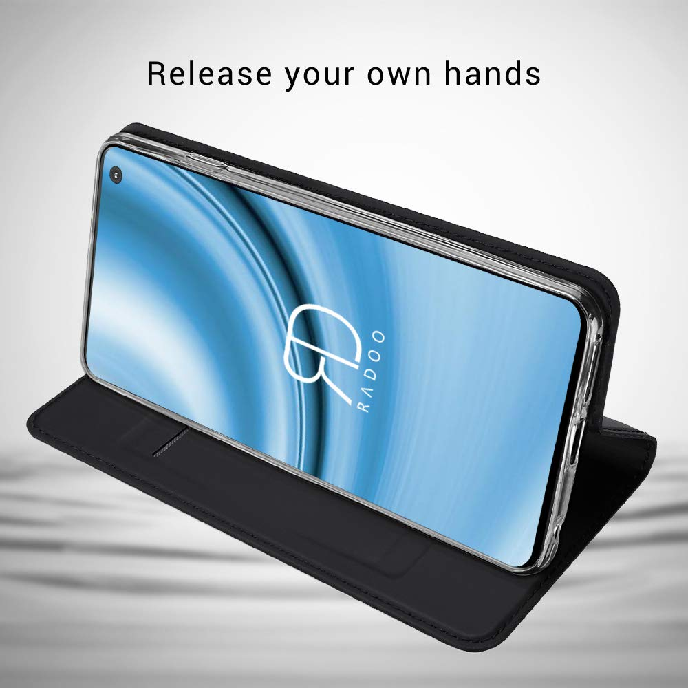 Radoo Galaxy S10 Premium PU Leather Flip Wallet Case With TPU Shockproof Inner Shell Flip Book Full Body Protection Case For Samsung Galaxy S10 Case 2019 Black