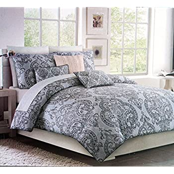 tahari bedding classical antique damask floral medallion pattern 3 piece cotton king size duvet cover set shades of gray and white