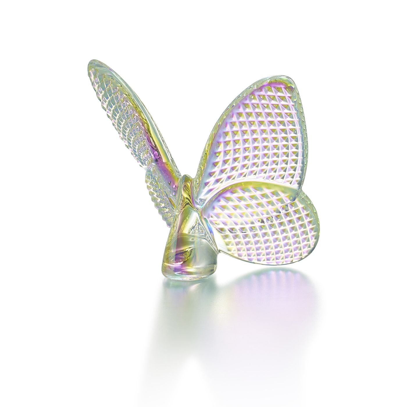 Baccarat Cystal Butterfly Diamond Pattern Iridescent
