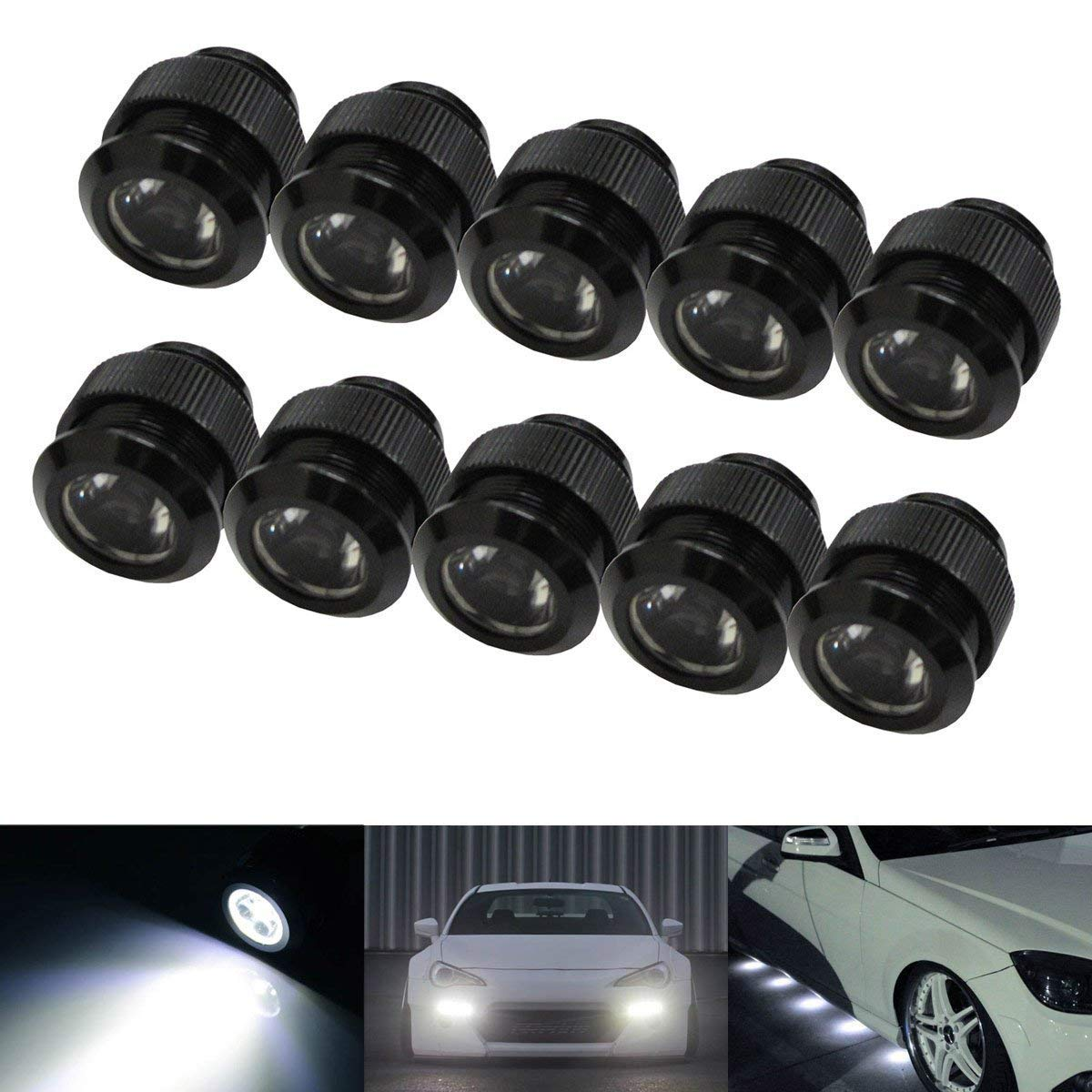iJDMTOY 10pc 30W High Power Flexible LED Lighting Kit For Daytime Running Light or Under Car Puddle Light, 6000K Xenon White iJDMTOY Auto Accessories Universal Fit LED Daylight DRL Lighting