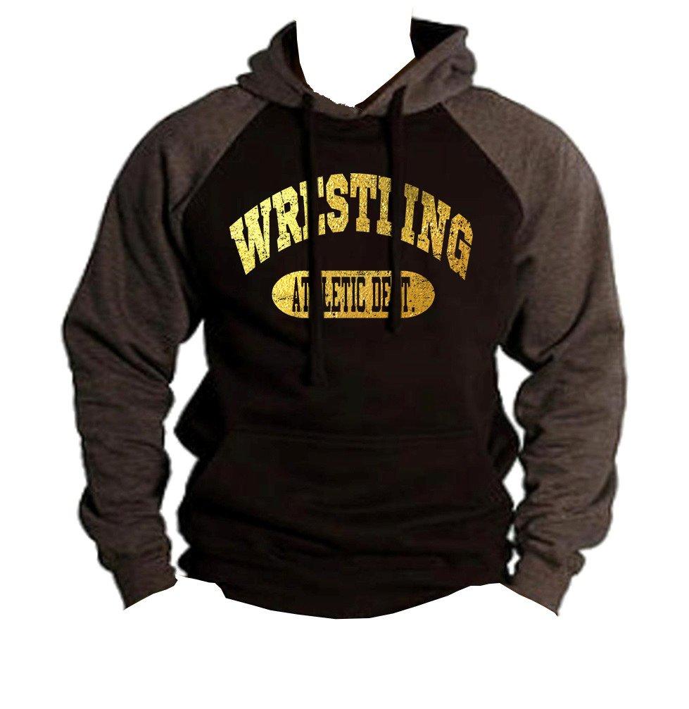 Interstate Apparel Men's Gold Foil Wrestling Athletic Dept. Black/Charcoal Raglan Baseball Hoodie Sweater 2X-Large Black