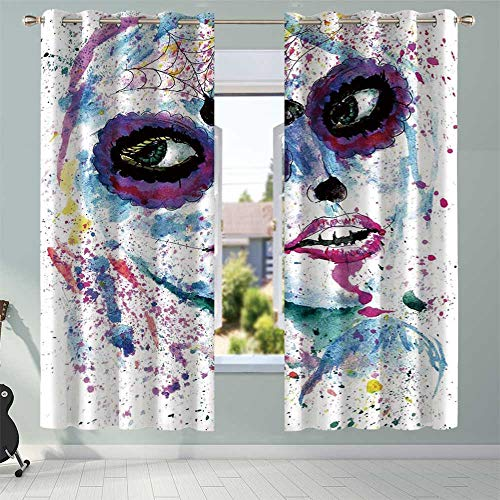 (YOLIYANA Girls Printing Curtains,Grunge Halloween Lady with Sugar Skull Make Up Creepy Dead Face Gothic Woman Artsy for Nursery School Home Hotel,108.3''W x)