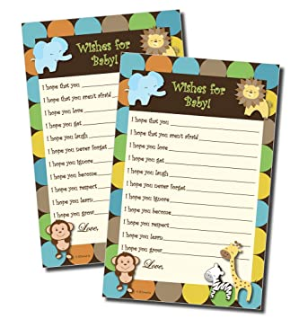 Amazon Com Wishes For Baby Baby Shower Game Jungle Themed 50