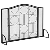 Best Choice Products Single-Panel Living Room Heavy-Duty Steel Mesh Fireplace Screen Decor w/Locking Door - Black