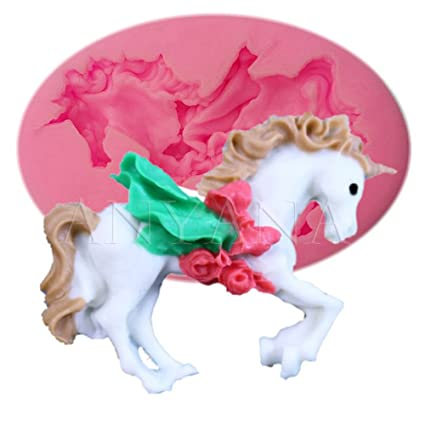 Anyana Merry Go Round Carousel horse silicone animal mould cake Fondant gum paste mold for Sugar paste birthday cupcake decorating topper decoration sugarcraft d/écor