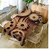 Moslion Tablecloth Industrial Steampunk Style Cinnamon tablecloths Rectangular Tablecloths Washable Decorative Polyester Tablecloth for Dining room 52 X 70 inch