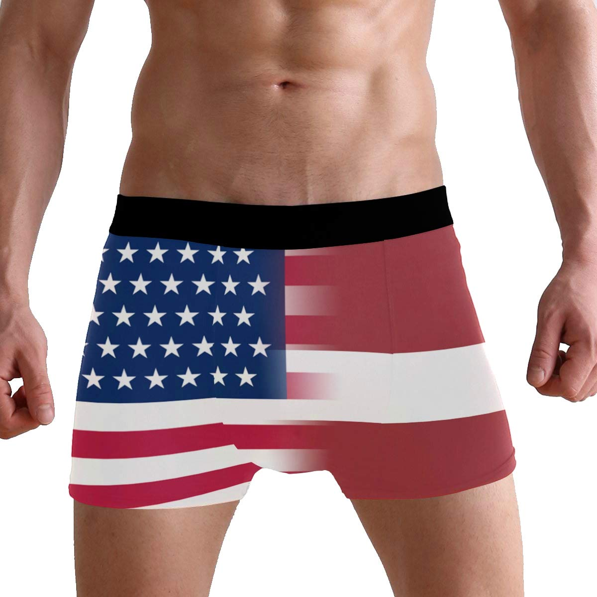 DongDongQiang USA Latvia Flag Mens Boxer Briefs Underwear