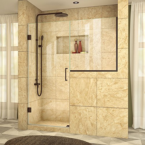 Panel Shower Design (DreamLine Unidoor Plus 63-63 1/2 in. W x 72 in. H Hinged Shower Door with 34 in. Half Panel, Clear Glass, Oil Rubbed Bronze, SHDR-24273634-06)