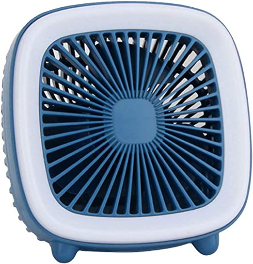 SCKL Ventilador Retro TV con Luz De La Noche De Escritorio Mudo Mini Ventilador Cubierta del Acoplamiento Cuadrado De Tres Velocidades del Ventilador USB Portátil Recargable,Azul: Amazon.es: Hogar