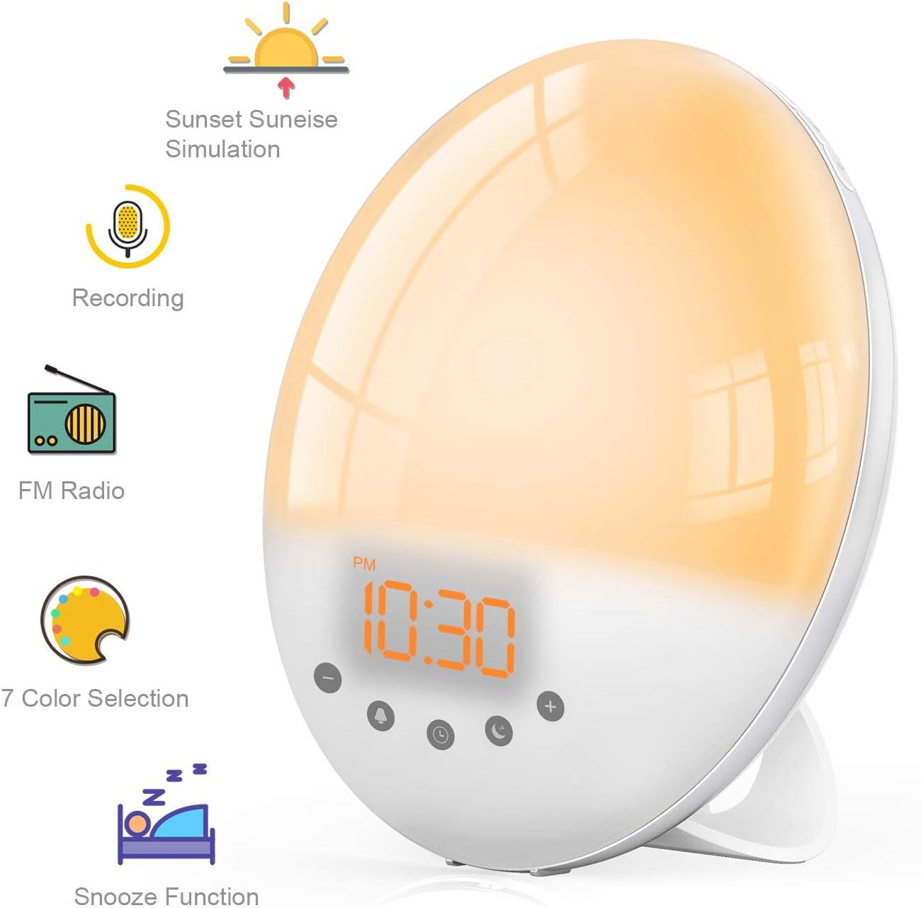 Radio Réveil Lumière avec Effets,TASMOR Lampe de Chevet Veilleuse 8 Sons Naturels 7 Couleurs,LED Simulation du LeverCoucher de Soleil, 30 Niveaux de