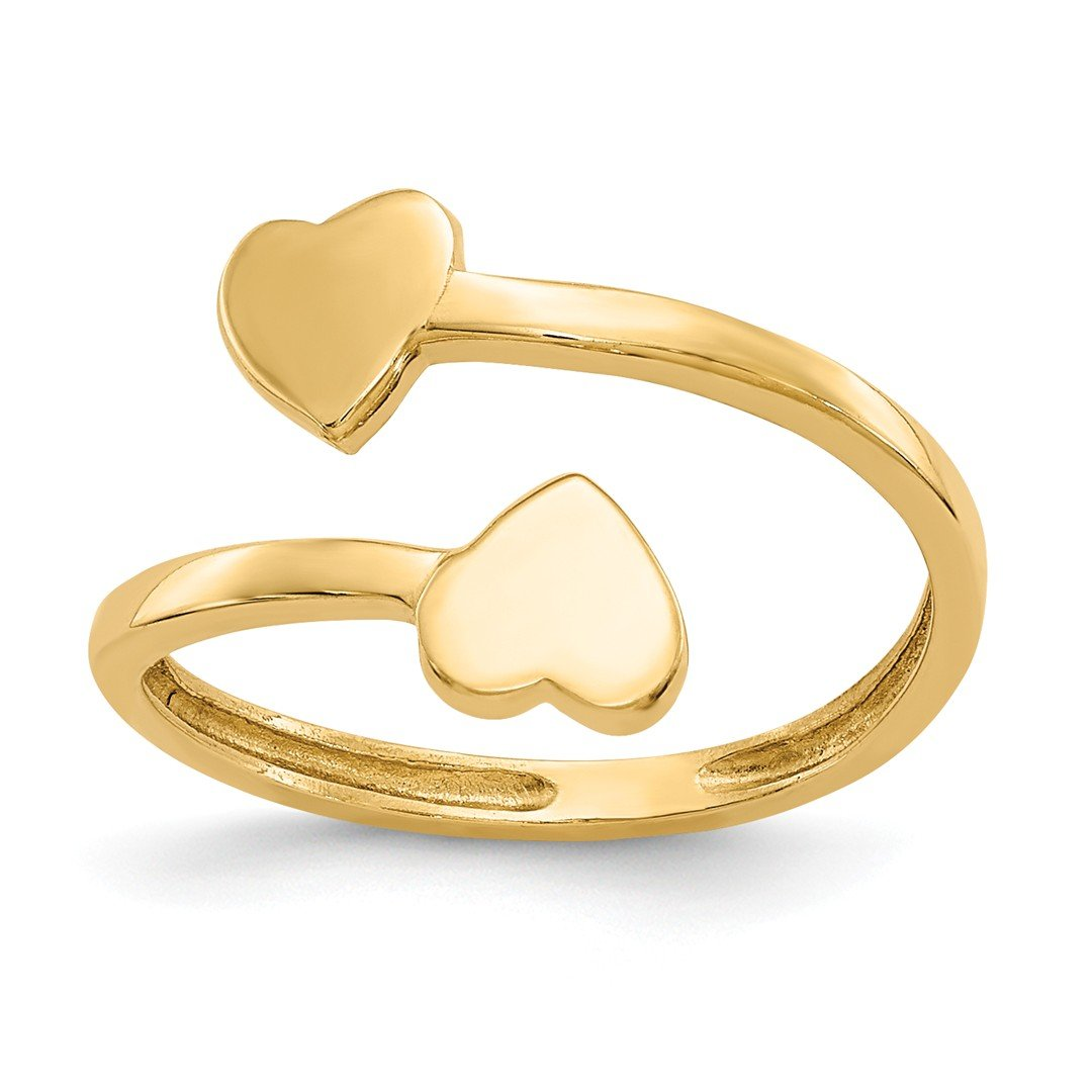 ICE CARATS 14k Yellow Gold Double Heart Adjustable Cute Toe Ring Set Fine Jewelry Gift Set For Women Heart
