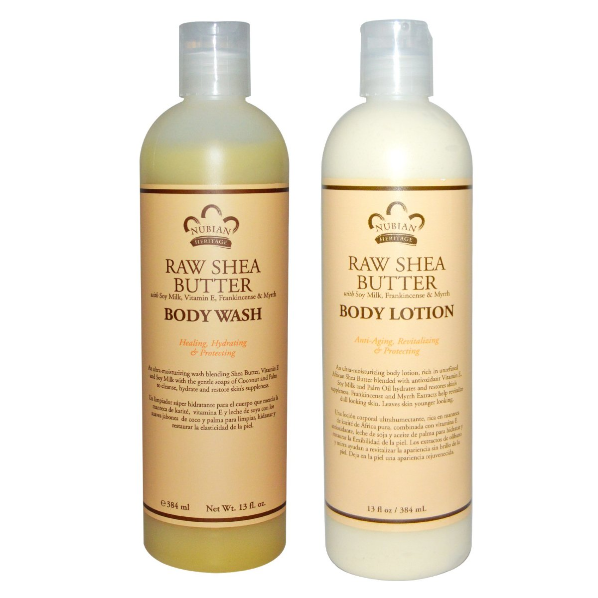 Amazon.com : Nubian Heritage Raw Shea Butter Body Wash and Body Lotion Bundle, With Vitamin E, Soy Milk, Frankincense, Myrrh and Palm Oil, 13 fl oz each : ...