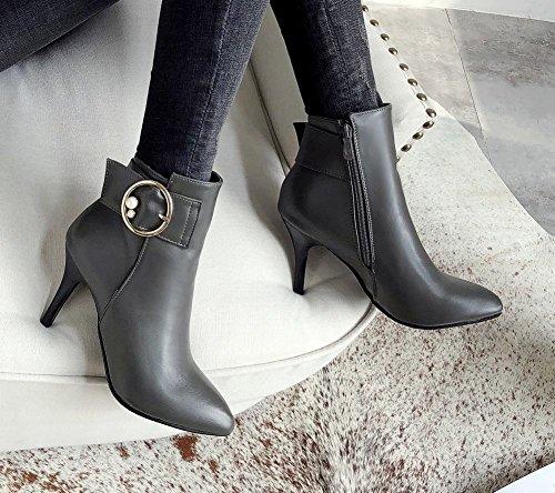 Mee Shoes Women's Charm Autumn Zip High Heel Platform Short Boots Grey rya8P
