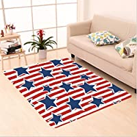 Nalahome Custom carpet tars on Stripes USA Americana Theme Independence National Celebration Decor Party Print Navy Red area rugs for Living Dining Room Bedroom Hallway Office Carpet (5 X 7)