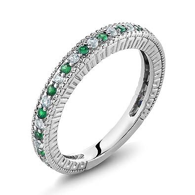 Amazon.com: Gem Stone King Anillo de boda de plata de ley ...