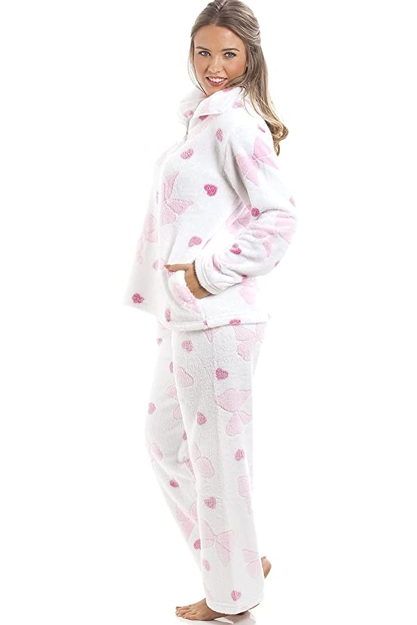 Camille Womens Womens Ladies White Supersoft Fleece Pink Heart And Bow Print Full Length Pyjama Set 14/16 Pink at Amazon Womens Clothing store: