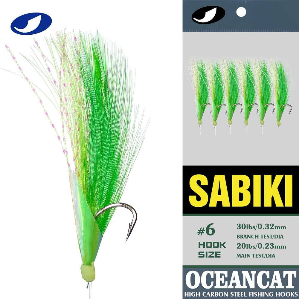 6Pcs Fish Skin Sabiki Bait Rigs Green Bead Fishing Rigs Lures 6 Hooks