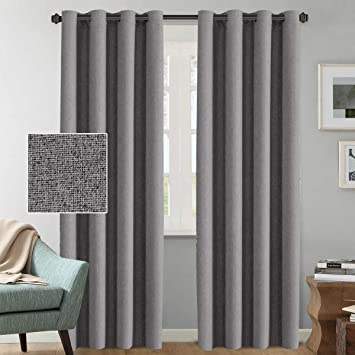 Linen Curtains Blackout Room Darkening Thermal Rich Linen Curtain Panels 96 Inches Long For Living Room, Heavy Weight Textured Luxury Linen Indoor Draperies, 52 By 96 Inch   Grey (2 Panels) by H.Versailtex