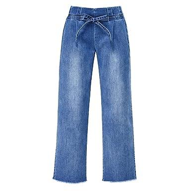 LINNUO Weites Bein Denim Hosen Bootcut Jeans Damen Wide Leg Pants Casual High  Waist Jeanshose Komfortbund  Amazon.de  Bekleidung 3fc167ffc8