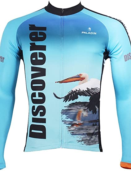 7d2fd22ba Paladinsport Men s Discovery Pelicans And Flamingos Blue Long Sleeve Cycling  Jersey Size S