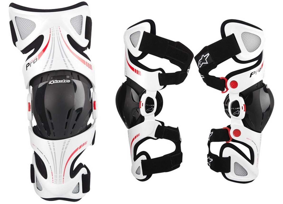 Alpinestars Fluid Pro Knee Brace Set - Sm/Lg , Size: Sm-Lg, Distinct Name: White, Gender: Mens/Unisex, Primary Color: White 6501314-231-SML