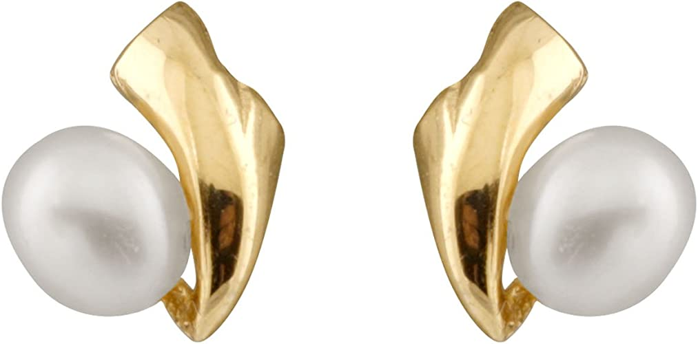 14K Yellow Gold 3.5-4mm Freshwater Cultured Pearls Stud Earrings with 14K YG Safety Silicone Push Backs