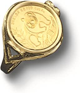 Tex 14 Kt Solid Yellow Gold Coin Ring 24 Kt Chinese Panda Bear Coin 1502 Random Year Coin