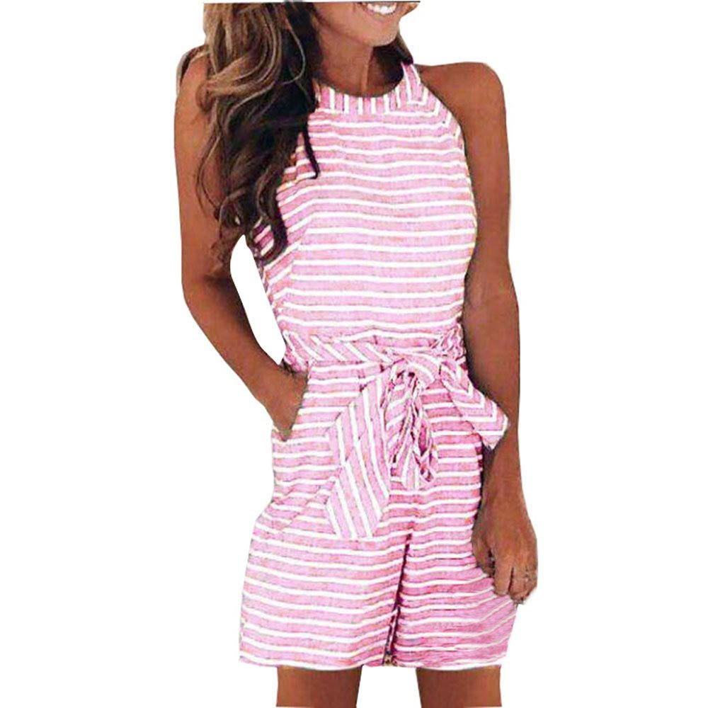 COOKI Rompers and Jumpsuits for Women Ladies Elegant Striped Waist Belted Wide Leg Long Pants Jumpsuits and Rompers Summer (Pink_2, L)