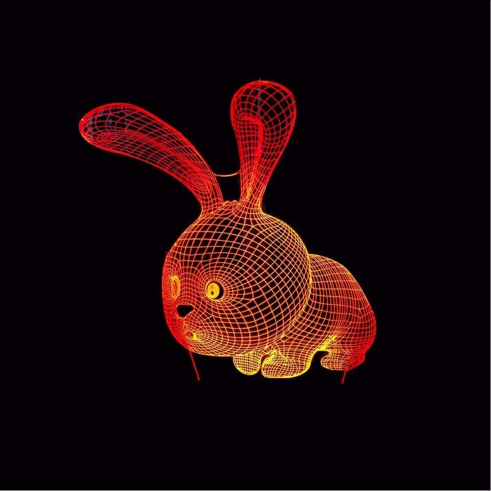 Fyyanm 7 7 7 Cambio De Color De La Mesa Animal Lámpara Casa Cabecera Kawaii 3D Led Luz De La Noche Encantadora De Dibujos Animados Conejo Iluminación Decoración Niños Regalos De Cumpleaños e34069