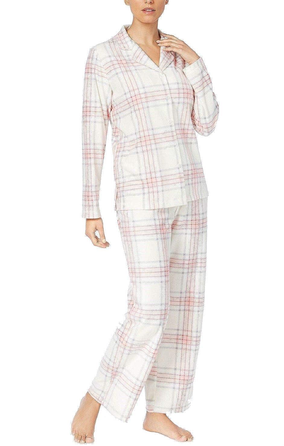 Black Large Striped Plaid Charter Club Printed Fleece Pajama Set Women's