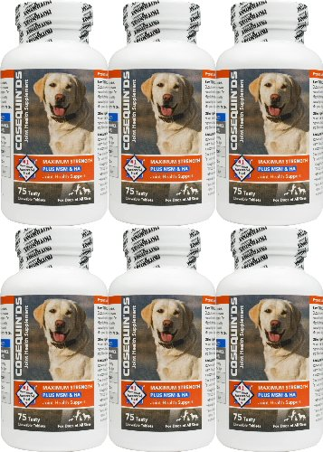 Nutramax Cosequin DS Plus MSM & HA Joint Health for Dogs 450ct (6 x 75ct)