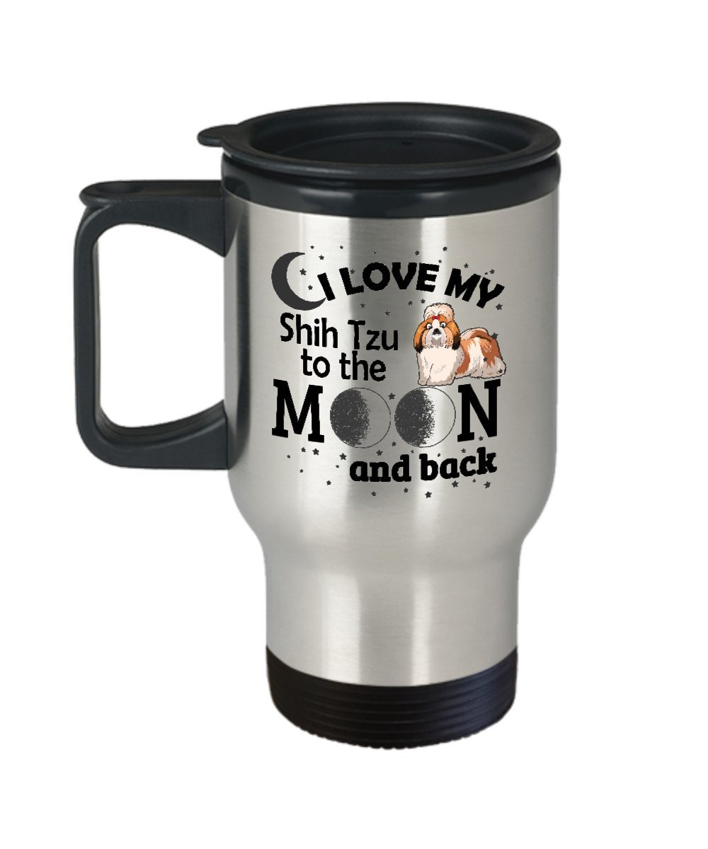 I Love My Shih Tzu To The Moon And Back面白いかわいいギフト旅行マグDog Lover Cup B078WCRLFV
