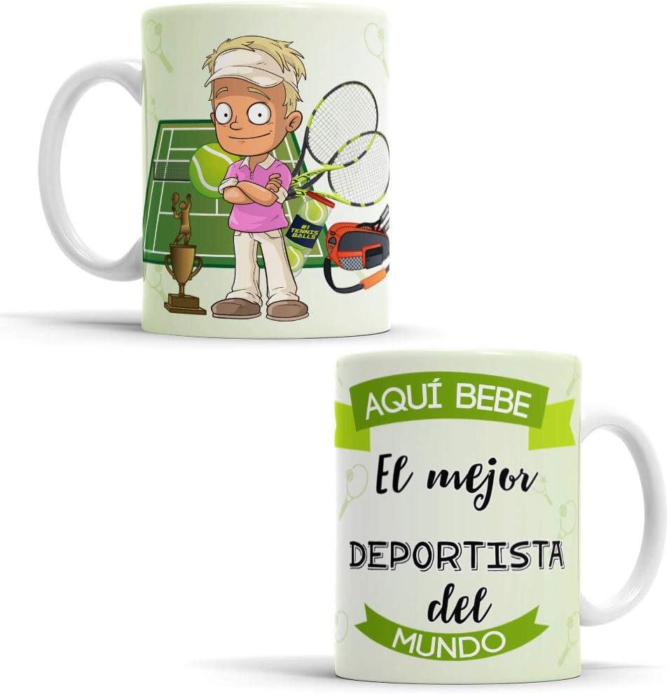 OyC Original y Creativo Taza para Deportista - Taza Aquí Bebe el Mejor Deportista del Mundo - Taza Regalo para Deportista - Taza con Frase y Dibujo (Deportista)