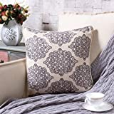 TINA'S HOME Damask Linen Embroidery Throw Pillow with Down Feather Filling | Charlotte Rope Stitch Accent Pillow for Home Couch Sofa Bed Decor(18 x 18 inches, Ash Purple)
