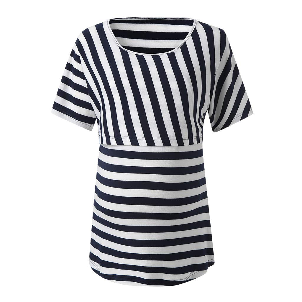 HEETEY Maternity Womens Nursing Stripe Long Sleeve Round Neck Breastfeeding Blouse Polyester Pregnancy Clothes for Mom