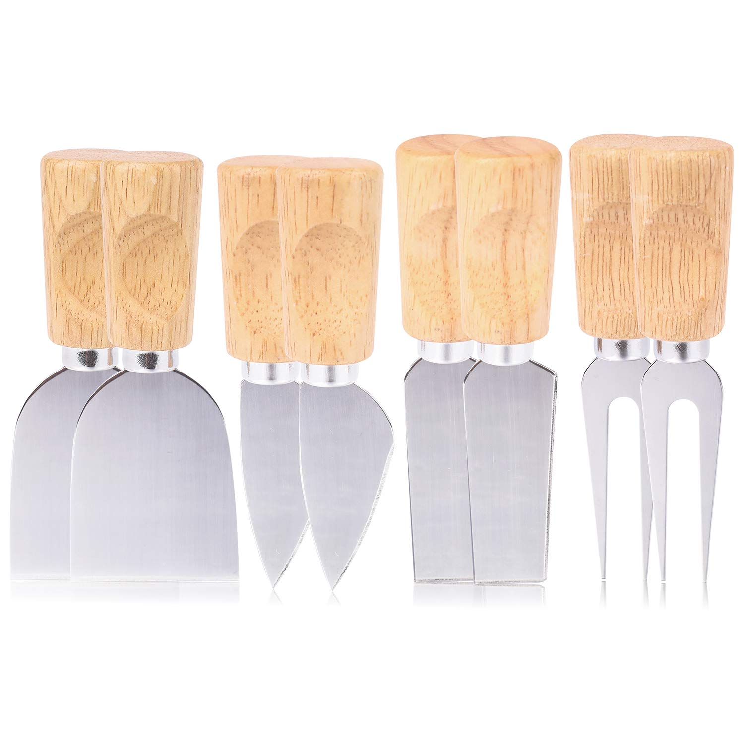 Kingrol 8 Pieces Cheese Knives with Wooden Handles, Cheese Slicer & Cutter Set by Kingrol