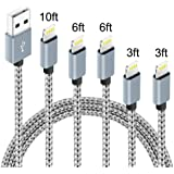 5Pack(3ft 3ft 6ft 6ft 10ft) iPhone Lightning Cable Apple Certified Braided Nylon Fast Charger Cable Compatible iPhone…