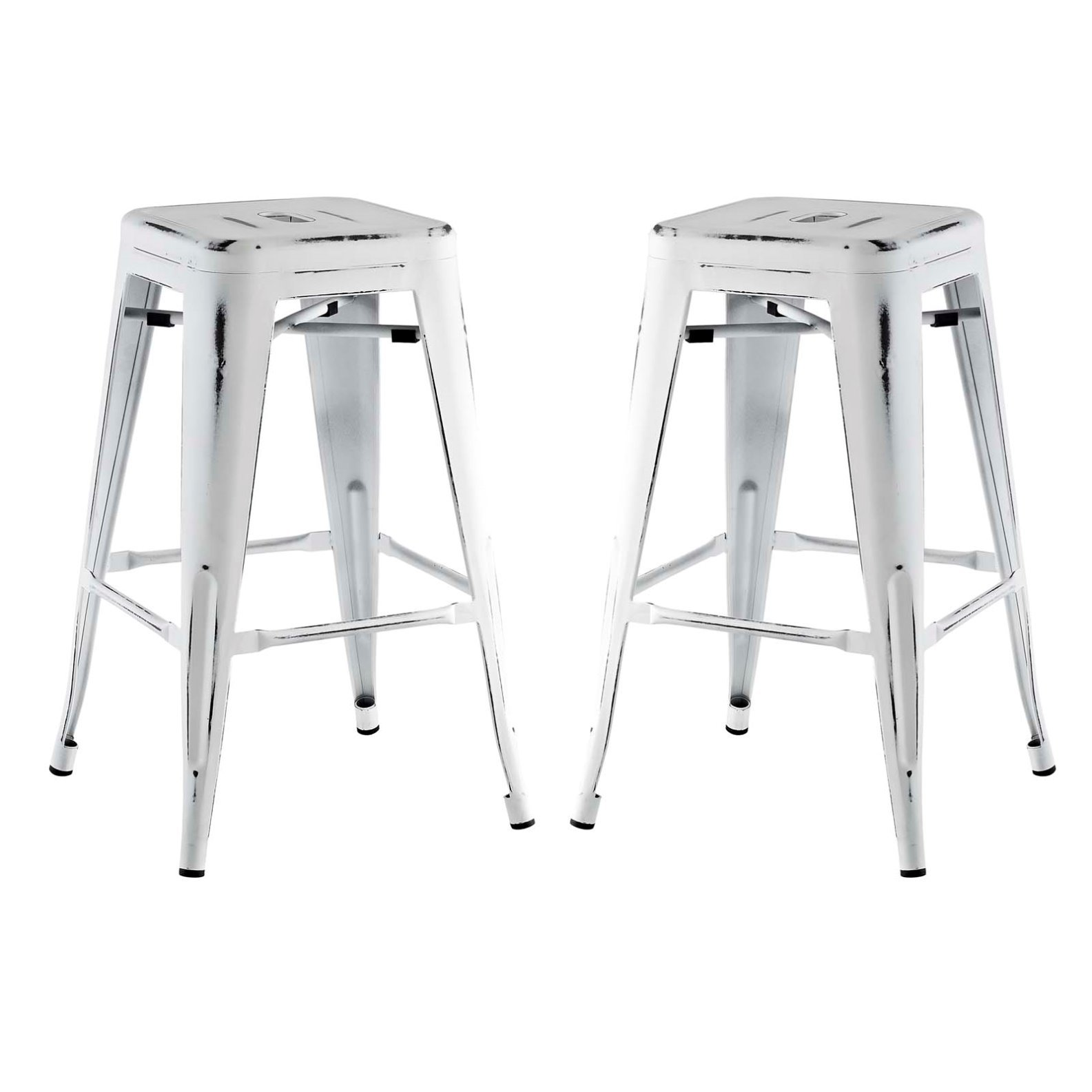 Modern Urban Industrial Distressed Antique Vintage Counter Stool Chair ( Set of 2), White, Metal