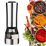 senmi Automatic Electric Salt and Pepper Grinder Set, 2 in 1 Stainless Steel Model of Highest Quality. The Salt Mill and Pepper Grinder Combines Two Mills Into One Dual Ended Design.