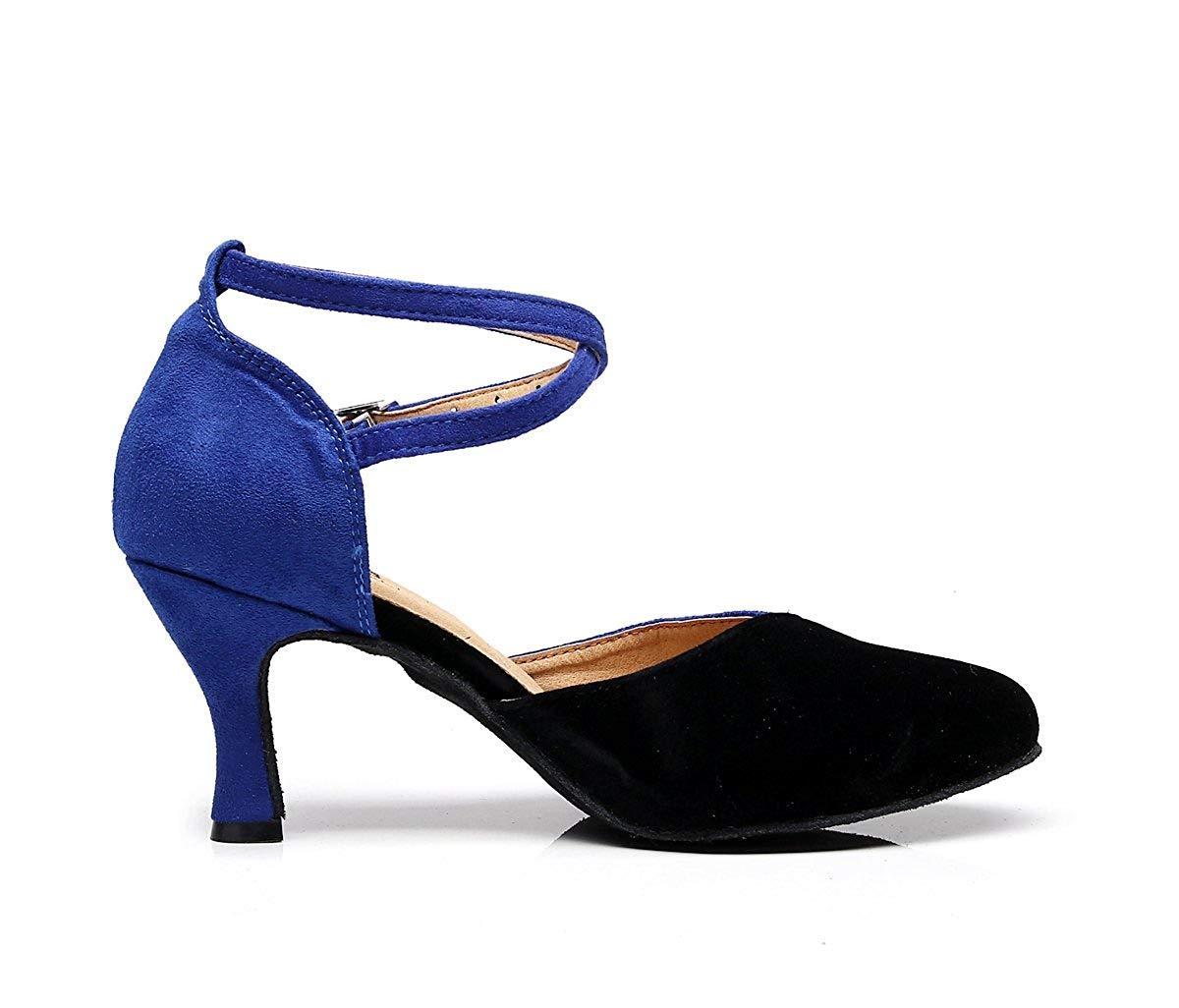 Qiusa TJ7136 Damen Mädchen Knöchelriemen Knöchelriemen Knöchelriemen Blau Wildleder Latin Dancing Schuhe Formale Partei Pumps UK 4 (Farbe   - Größe   -) aad0fa