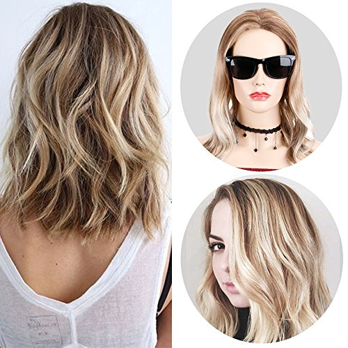 Queentas Short Highligh Brown With Blonde Ombre Wavy Curly Bob Style Wig Heat Resistant Synthetic Hair Full Wigs for Women