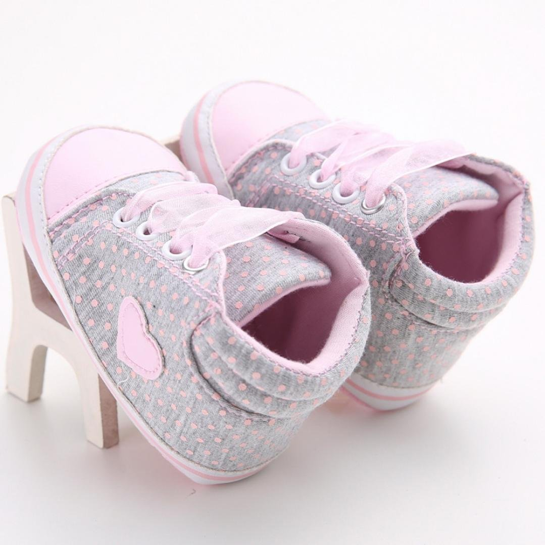 Baby Girl Shoes Botrong Canvas Heart Shape Shoes Anti-Slip Sneaker Toddler