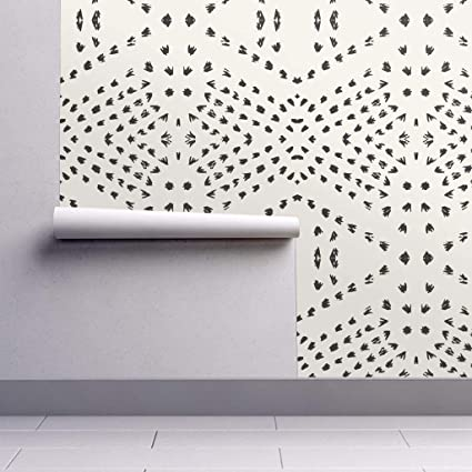 Peel And Stick Removable Wallpaper Tribal Boho Boho Gestural Lines Tribal Black White Boho Tile Dot By Holli Zollinger 24in X 96in Woven Textured