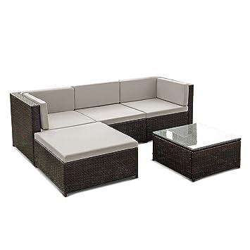 Salon de jardin avec coussins pour extérieur avec canapé d\'angle et ...