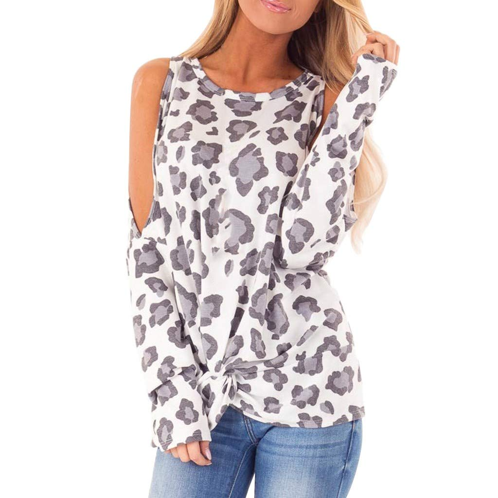 LONGDAY Leopard Print Long Sleeve Crew Ne Fit Casual Sweatshirtr Shirts Loose Tunic Blouse by LONGDAY-Women Tops
