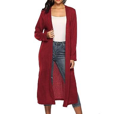 Linlink Invierno Mujeres otoño Manga Larga Abierta Capa Informal Abrigo Blusa Kimono Chaqueta Cardigan Outwear: Amazon.es: Ropa y accesorios